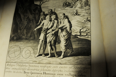 Detail from the engraved frontispiece of David Gregory's 1703 Greek and Latin Elements