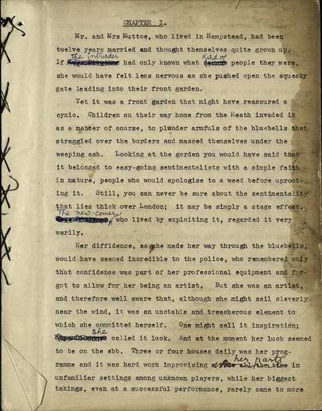First page of the novel Mrs Muttoe and the Top Storey, showing hand-stitching and various corrections by Willa Muir, 1940, ms38466/1/2