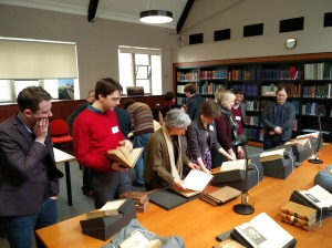 Delegates view the selection of Special Collections material in the Napier Reading Room