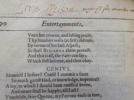 Inscription found in the 1616 First Folio of Jonson's Works (TypBL.C16SJ;1)