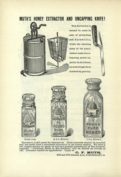 Advertisement for Honey Extractors, Uncapping Knives and Honey Storage Jars by C.F. Muth (BevSF523.C6)