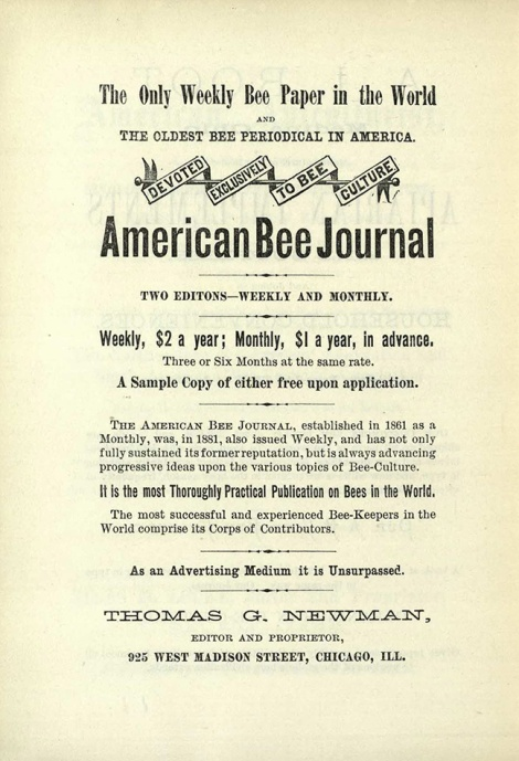 Advertisement for the American Bee Journal (BevSF523.C6 )