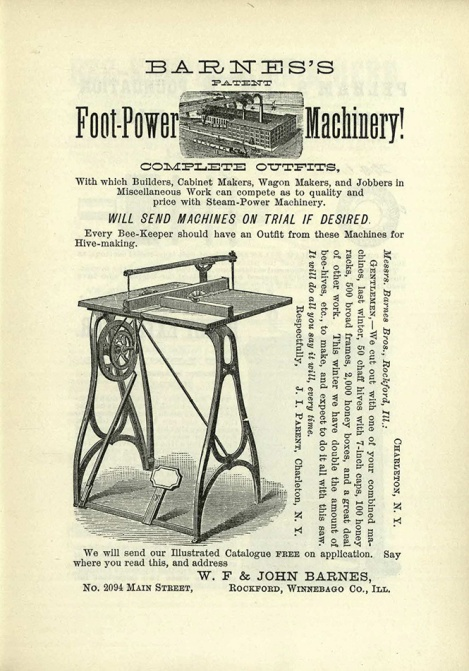 Advertisement for Barnes's Patent Foot-Power Machinery (BevSF523.C6)