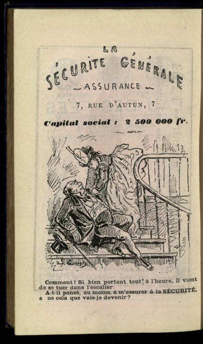 "Image 1. Caption: ""La sécurité générale assurance"" ""What?! He looked so healthy earlier today, and he just died in the staircase… Did he at least remember to insure me at La Sécurité? What would I become otherwise?"" Cro DQ16.C66E73"