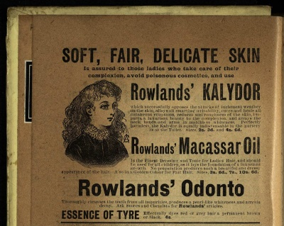 Rowland's Kalydor, Macassar oil and Odonto, in Armorel of Lyonesse (1907), Har PR4104.A76 1907