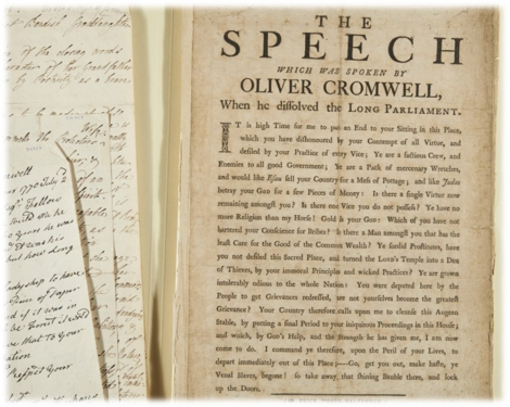 """A copy of the speech Oliver Cromwell gave at the Long Parliament"""