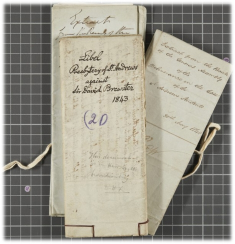 """Documents from 1840-1846 relating to protests and legal challenges against the Principal of United College (and early promotor of photography and the inventor of the kaleidoscope) Sir David Brewster"""
