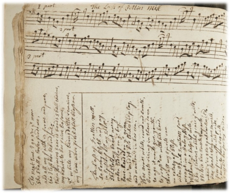 """A manuscript containing over 100 Scottish Airs and songs with musical notation and lyrics. Attributed to Alex Smith, 1722"""