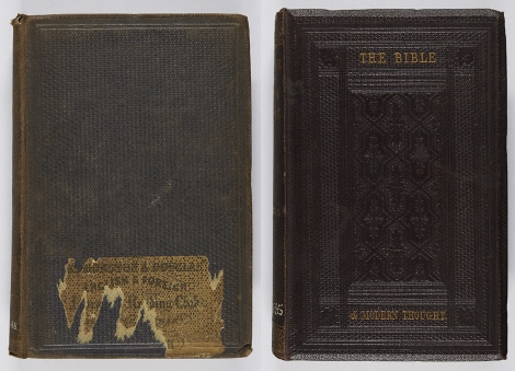 Examples of honeycomb grain; that on the left has the remains of an Edmonston & Douglas reading club sticker on the front, whilst that on the right is also blocked in blind. Both works were bound by Westleys & Co., publishers often outsourcing the binding of works to binders. Henry Alford, Sermons on Christian doctrine (London: Rivingtons, 1862), For BV4253.A8 ; T. R. Birks, The Bible and modern thought (London: The Religious Tract Society, 1862), For BS480.B5.