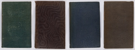 Some examples of bindings with a moiré rib, in a variety of coloured cloths. Henry Ellis, A general introduction to Domesday book, 2 vol. (London: printed by command of His Majesty King William IV under the direction of the Commissioners of the Public records of the Kingdom, 1833) s DA190.E5E33 ; Thomas Wemyss, A key to the symbolical language of Scripture (Edinburgh, T. Clark, 1835), s BS477.W3 ; George Montagu, Horae Hebraicae (London: James Nisbet & Co, 1835), s BS2775.M2 ; Francis Hutton, A series of discourses on Christ's temptation in the wilderness (London: Bowdery and Kerby, 1833),  s BT355.H9.