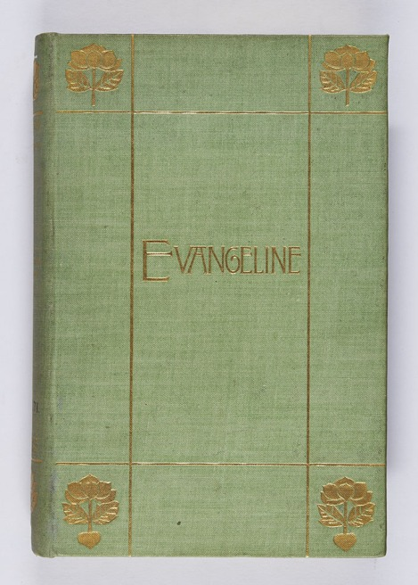 An example of a binding from 1892, showing the enduring popularity of gold blocking. Henry Wadsworth Longfellow, Evangeline: a tale of Acadie (London: Longmans, Green, and Co., 1892), r PS2271.E8.