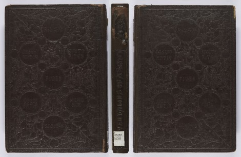 An example of a work whose whole binding is blocked in blind; our copy has had its spine rebacked. John Ruskin, The seven lamps of architecture (London : Smith, Elder, 1849), s PR5261.S4E49.