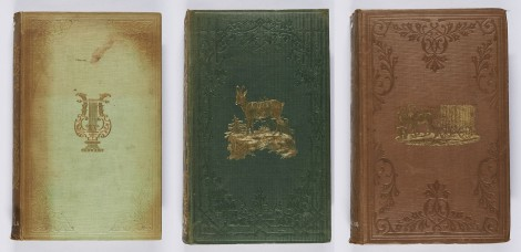 Further examples of bindings using a combination of blind and gilt blocking. The new Timon (London, Henry Colburn, 1846 ; bound by Westleys & Co.), s PR4922.N4E46 ; Baptist W. Noel, Notes of a tour in Switzerland (London: James Nisbet and Co., 1848 ; bound by Westleys & Clark), s DQ23.N7 ; Laurence Oliphant, The Russian shores of the Black Sea (Edinburgh and London: William Blackwood and Sons, 1853 ; bound by Edmonds & Remnants), s DK511.C7O6.