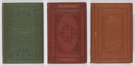 Some examples of bead grain cloth bindings, all blocked in blind; the first has a very Art Nouveau feel to the blocked design. Alfred W. Drayson. The earth we inhabit: is past, present, and probable future (London: A.W. Bennett, 1859), s GA8.D7 ; Enoch Mellor, The atonement, its relation to pardon (London: Hamilton, Adams, & Co., 1860), s BT265.M3 ; A.J. Campbell, The power of Jesus Christ to save unto the uttermost (London: James Nisbet and Co., 1859), s BT205.C2.