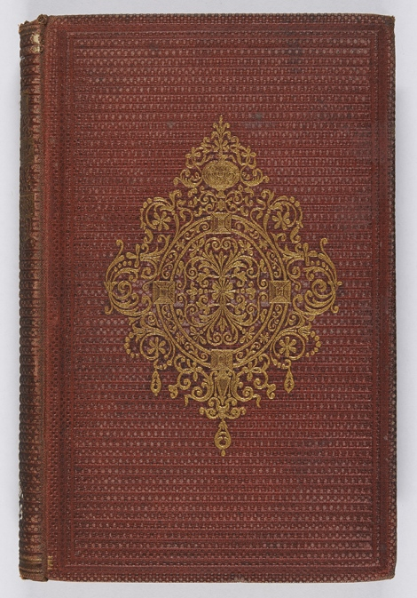 Another example of bead grain, but this binding has been blocked in blind to give the impression of a horizontal rib. James Russell Lowell, The Biglow papers (London: John Camden Hotten, 1861), r PS2316.L7B5.