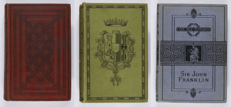 A selection of bindings using black blocking. Andrew Wynter, Curiosities of civilization (London: Robert Hardwicke, 1860), s D10.W9 ; William Stirling Maxwell, Don John of Austria, 2 vol. (London: Longman, Green, and Co., 1883), s DH193.S8 ; A. H. Beesly, Sir John Franklin (London: Marcus Ward & Co., 1881), r G650.1B4.