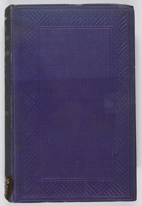 A vertical wave grain on purple cloth (a bit faded at the top)with an interesting geometric blind border. Henry Christmas. Sin: its causes and consequences (London: Wm. H. Allen & Co., 1861), s BT715.C5.