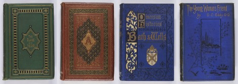 These are examples of the different use of black and gold blocking; I like the simplicity of the final binding. The blade and the ear: a book for young men (Edinburgh: William P. Nimmo, [1870]), r BV4541.B5 ; Nathaniel Hawthorne, The scarlet letter (London: Charles H. Clarke, [1859]), s PS1868.D4 ; William Hunt, The Somerset diocese (London: Society for Promoting Christian Knowledge, 1885), s BX5107.B3H8 ; Daniel C. Eddy, The young woman's friend (London: Walter Scott, 1885), s BV4551.E4.