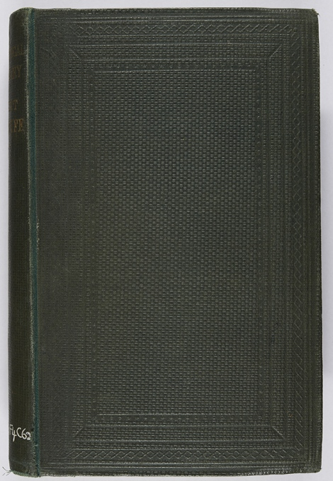 Dark green criss-cross cloth blocked in blind on both boards with border design. M.F. Conolly, Biographical dictionary of eminent men of Fife (Cupar-Fife, John. C. Orr; Edinburgh: Inglis & Jack, 1866), McG DA880.F4C62.