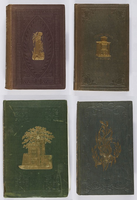 Bindings with gilt central motifs, of varying dimensions; that in the second image has tarnished somewhat. William M. Thomson, The land and the book (London: T. Nelson and Sons, 1860), s BS620.T5E60 ; Dionysius Lardner, The electric telegraph popularised (London: Walton and Maberly, 1855), For TK5262.L2 ; C. H. Newmarch, Recollections of Rugby (London: Hamilton & Adams, 1848 ; bound by Remnant & Edmonds), s LF795.R8N4 ; John Lindley, Ladies' botany (London: Henry G. Bohn, 1847), s QK50.L6.