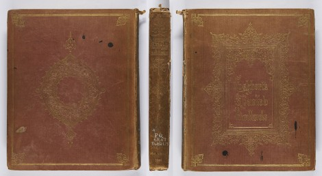 This is an early example of an all-over design blocked in gold, probably designed by Owen Jones. The date 1841 is blocked on the spine, but this practice was soon discontinued. Ancient Spanish ballads; historical and romantic, translated by J. G. Lockhart (London: John Murray, 1841), r PQ6267.E4B2L7.