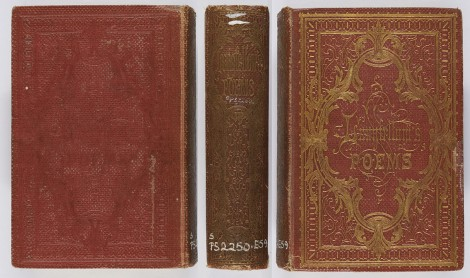 The front cover and spine of this binding are extensively blocked in gilt, but the back cover is only blocked in blind. Henry Wadsworth Longfellow, Poems (Edinburgh: William P. Nimmo, 1859), McI PS2250.E59.