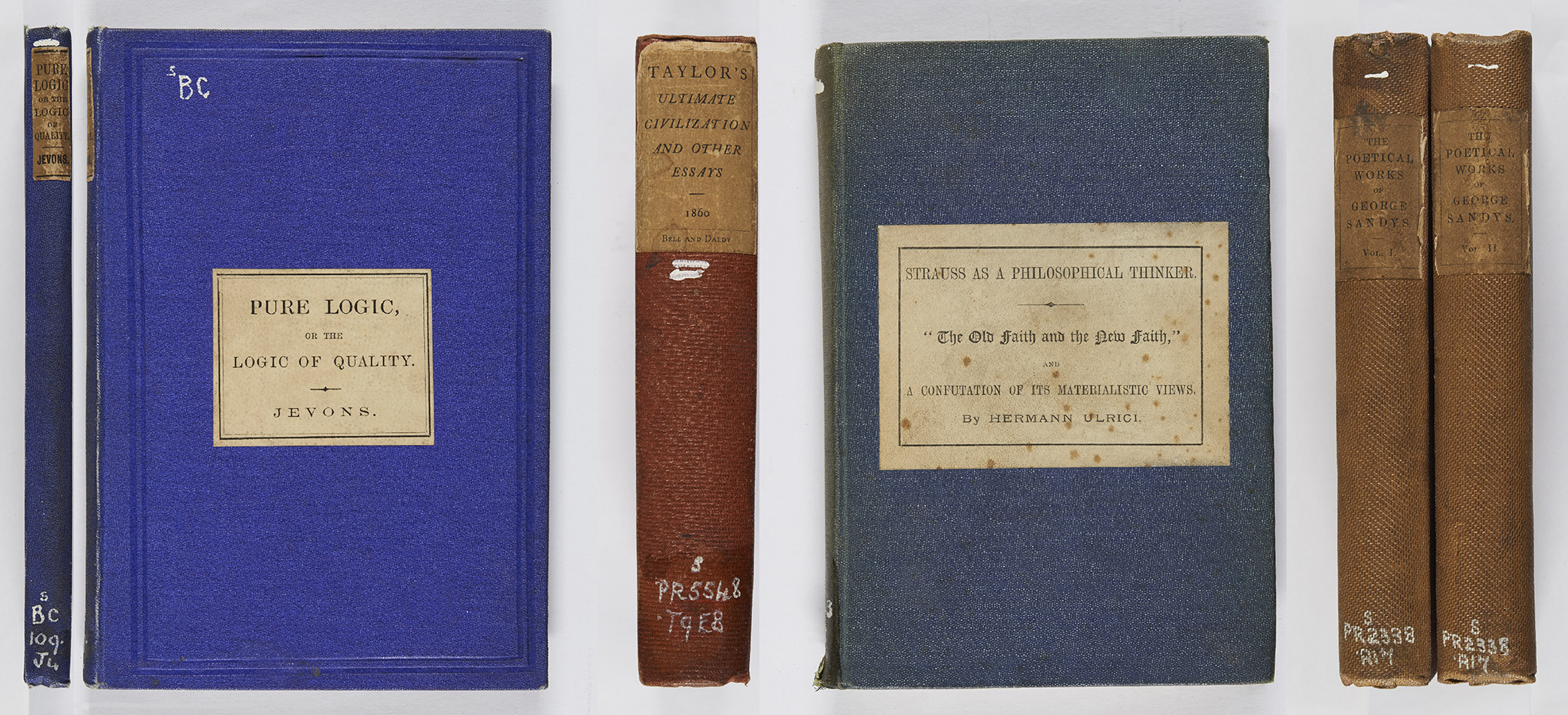 victorian cloth bindings week titles echoes from the vault w stanley jevons pure logic london edward stanford 1864 r bc109 j4 isaac taylor ultimate civilization and other essays london bell and