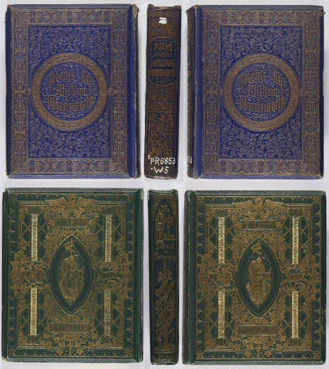 On other works the gilt blocking could extend over the whole binding, as in these two examples. The first binding was designed by Albert Warren (his monogram appearing on the spine), the second by John Leighton, whose initials are visible at the foot of the centrepiece. William Wordsworth, Poems of William Wordsworth (London: George Routledge & Co., 1859), s PR5853.W5 ; Walter Scott, The lady of the lake (London: A.W. Bennett, 1863), Photo PR5308.E63.