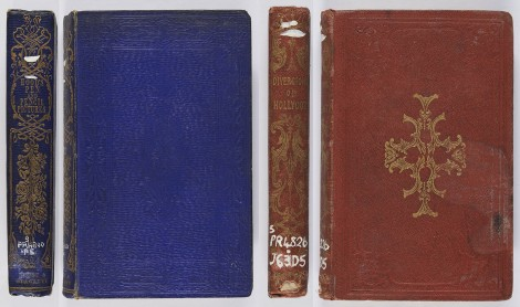 The first binding has a spine entirely blocked in gold, whilst the covers are blue ribbed morocco grain blocked in blind; the second gilt spine picks up the gilt central motif from the front cover. Thomas Hood, Pen and pencil pictures (London: Hurst & Blackett, 1857; bound by Leighton, Son & Hodge), s PR4800.P5 ; C. I. Johnstone, Diversion of Hollycot, or the mother's art of thinking (Edinburgh: Oliver & Boyd, 1845), s PR4826.J63D5.