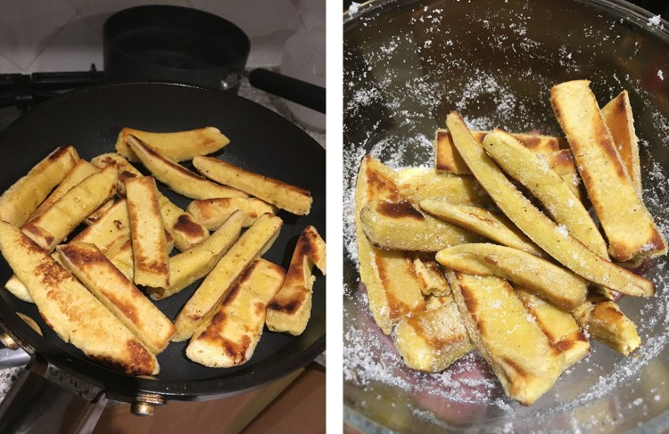 Left: Frying the dish cake  Right: They're edible now!