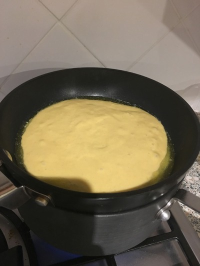 Batter sitting in butter