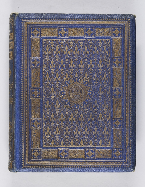 A binding elaborately blocked in gold, a feature of the high Victorian period. Robert Browning, A selection from the works of Robert Browning (London: Edward Moxon & Co., 1865), r PR4203.M5E65.