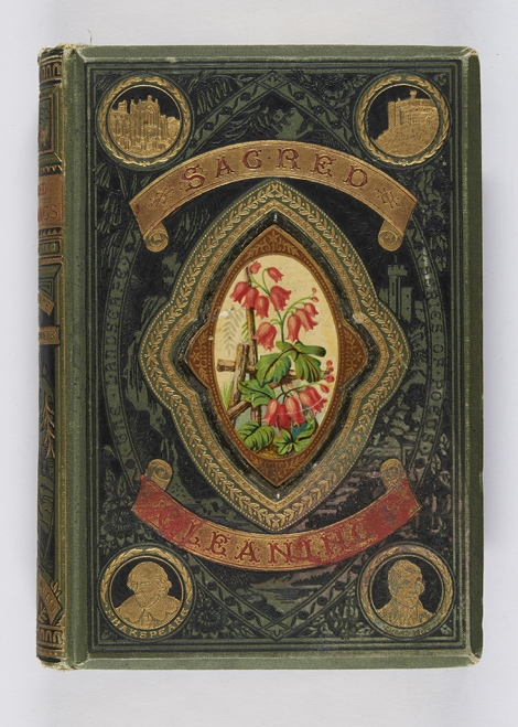 I think this is a lovely use of a chromolithograph inlay. Additionally, the title is reverse blocked in gold on red cloth onlays. Gleanings from the sacred poets (Edinburgh and London: Gall & Inglis, [1881]), r PN6110.R4G6.