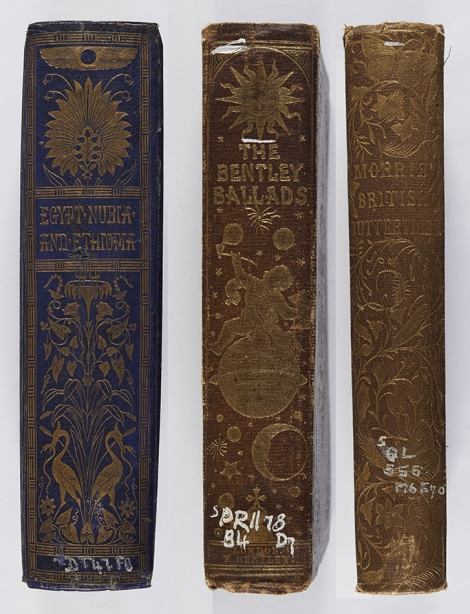 I love these illustrated spines. Joseph Bonomi, Egypt, Nubia, and Ethiopia (London: Smith, Elder and Co., 1862), Photo DT47.F8 ; The Bentley Ballads (London: Richard Bentley, 1858 ; bound by Edmonds & Remnants), s PR1178.B4D7 ; F. O. Morris, A history of British Butterflies (London: Bell & Daldy, 1870), rQL555.M6E70 (SR) Copy 2.