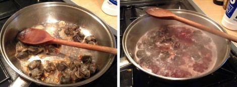Left: Frying in butter and garlic. Right: Wine and seasoning added.