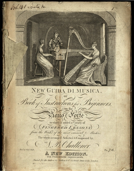 An example of a volume in the copyright music collection - Challoner's New Guida di Musica, 'improved edition' (London: Skillern, [1812]), St Andrews University Library sM1.A4M6; 141']