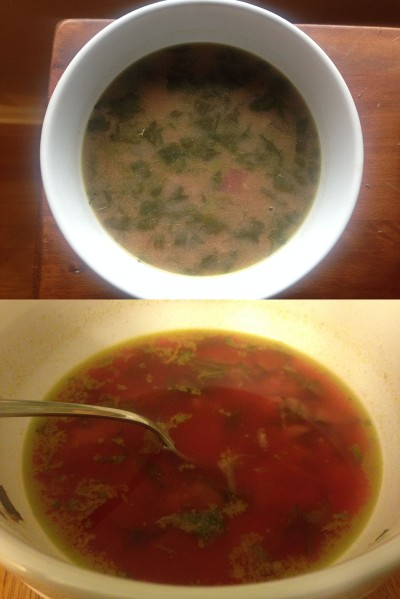 Top:The soup took on an unappealing colour Bottom: The soup began to separate after a few minutes and became even more off-putting