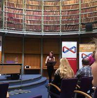 Anabel doing her end-of traineeship presentation to representatives of the archives sector in August 2016 at General Register House, Edinburgh