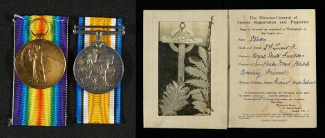 Posthumously awarded medals and Albert's gravestone in France.
