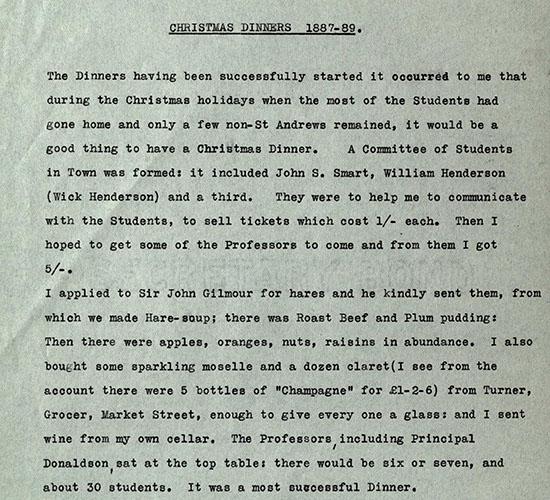 christmas dinner menu reminiscences of peter redford scott lang on university life 1860 1919