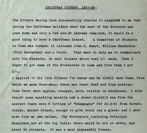 Christmas dinner menu Reminiscences of Peter Redford Scott Lang on university life, 1860-1919 msLF1110.L2