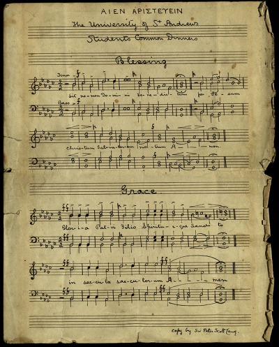 Manuscript music for Latin common dinners grace and blessing for St Andrews University, composed by Sir Alastair Campbell Mackenzie, 1894 (msLF1119.G8).