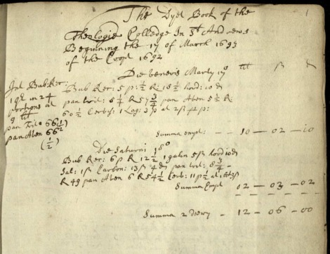 Page from diet book of St Marys College, 1693 (UYSM530/1)