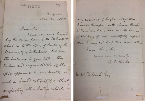 Letter to WW Tulloch from JS Mill, 20 November 1865. This is the item referred to in the Alumnus Chronicle 62/40 which records that it was given to the University by Robert F Metzdorf of Connecticut in 1970. ms36222