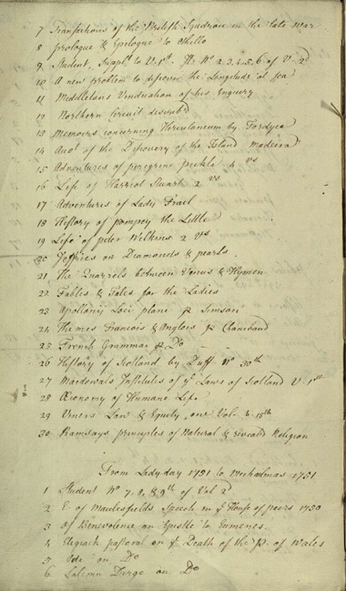 A page from an accessions list showing books sent up in 1750 and 1751.  About a third of the way down the page, Tobias Smollett's The Adventures of Peregrine Pickle heads a sequence of new novels.  UYLY107/2, p. 66.