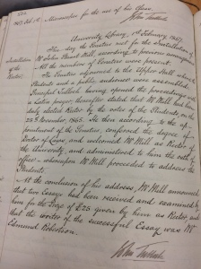 Page from the minutes of Senatus for 1 February 1867, recording the installation of Mill as Rector, the conferral of his LLD and the delivery of his inaugural address.
