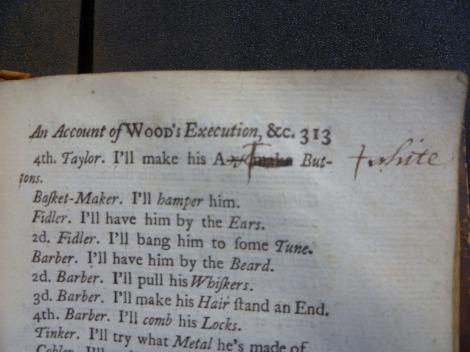 n Swift's prose burlesque 'An Account of Wood's Execution', a student not only demonstrates that he knows that the 'A—'  in the line 'I'll make his A— make Buttons' stands for 'Arse', but also suggests that the line would be better if the word 'make' was replaced with 's****'.  s.PR3724.M4D27, Vol. 5, p. 313.