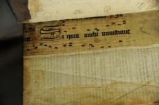 Here is a lovely example of some Gregorian chant with ornate lyrics added below. (TypGH.B90SM)