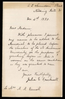 Letter from Julia E. Cracknell
