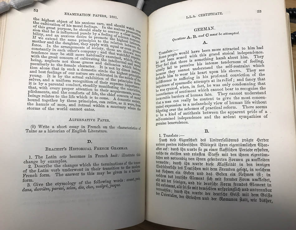 1881 LLA Exams 6 | Echoes from the Vault